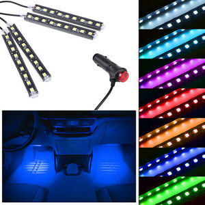 Blue LED Car Interior Accessories Floor Decora Atmosphere Strip Lamp Lights 4x