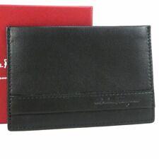 Auth Salvatore Ferragamo Leather Card ID Holder Case Wallet Men Unused H1389