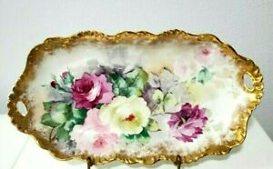 """Limoges France Large 16"""" Oval Platter hand painted with roses"""