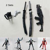 2 Sets Weapon  Pack For 6'' Marvel Avengers Deadpool Crossbone Figure Accessorie