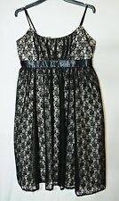 BLACK BEIGE LACE WOMEN'S DRESS AMARANTO SIZE 14 PARTY FORMAL DINNER EVENING