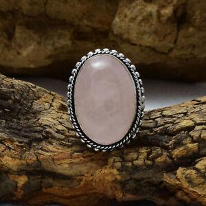 Good-Looking Rose Quartz Gemstone 925 Sterling Silver Handmade Ring All Size