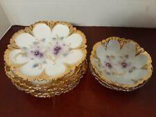 Vintage Set Of 9 DESSERT PLATES/BOWLS Germany PURPLE PETUNIA Gold Scallop Trim