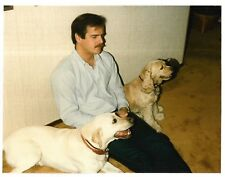 Vintage 80s PHOTO Man Guy Sitting on Floor w/ Pair Sweet Dogs Pets