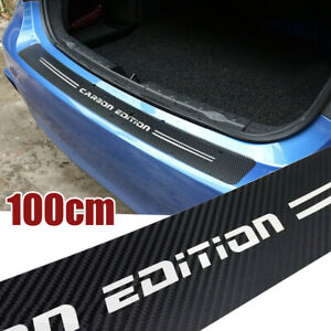 4D Carbon Fiber Rear Trunk Bumper Guard Strip Accessories Sticker Moulding Trim