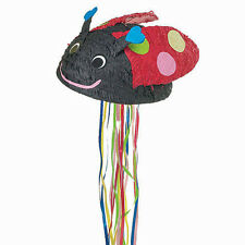 Lady Bug Pull String Pinata is made from cardboard and tissue paper/pull kit