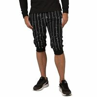 Vibes Men's Black Heavy Jersey 18'' Jogger Capri Short painted Pinstripe Printed