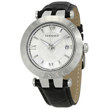 Versace V-Race Silver Dial Mens Leather Watch VCL080017