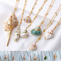 Women Cowrie Beach Sea Shell Pendant Conch Choker Gold Chain Necklace Jewelry UK