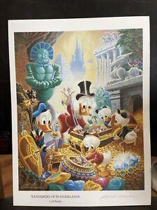 "Carl Barks autographed print, ""Wanderers of Wonderlands"", Very nIce"