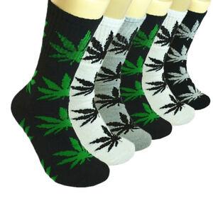 6 Pairs Men Sports Leaf Weed Marijuana Crew Cotton Long Socks Size 9-11 10-13