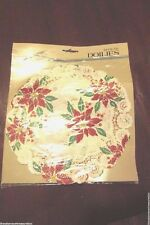 Christmas Poinsettia Paper Doilies Set of 4 Party Celebrations by Gibson