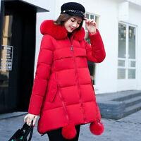 Women's winter Jacket long Down Cotton Parka Fur Collar Hooded trench warm coat