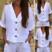 Women Buttons Solid Plain Blouse Half Sleeve Coller Loose Shirt Top Kimono Tunic