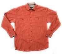 Pronto Uomo Blue Mens Long Sleeve Button Shirt  XL Extra Large Tall Burnt Orange