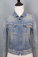 Maison Scotch Amsterdams Blauw Womens Trucker Denim Jacket Size S Retail  $153