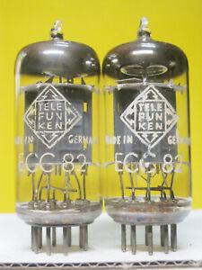 2 x ECC82 Telefunken - ribbed plate - <> on bottom