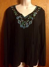 White Stag women size Medium Black With Embroidery Boho Style