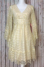 New Betsey Johnson size 8 Ivory & Gold Lace Bell Sleeve Tie-back Retro 70s Dress
