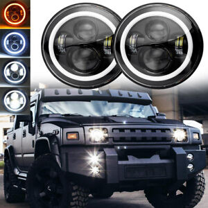 """DOT Pair 7"""" Round LED Headlights Halo DRL For Hummer H1 H2 AM General 1992-2002"""