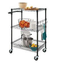 Hyper Tough kitchen/utility adjustable metal 3-Shelf Rolling Cart, Black