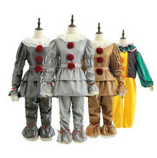 Adult Mens Women Stephen King It Pennywise Costume  Clown Cosplay Outfits A+
