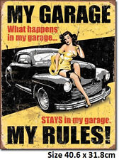 My Garage My Rules-40's Ford Tin Metal Sign 1671 Licensed Made in USA