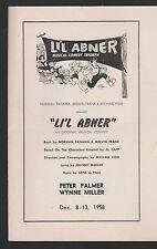 L'il Abner 1958 Auditorium Theatre Program Peter Palmer Wynne Miller