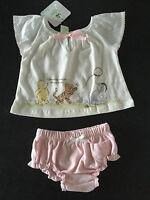 BNWT Girls Sz 1 Cute Pink & White Disney Baby Pooh Bear Summer Top & Pants Set