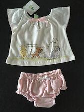 BNWT Girls Sz 00 Cute Pink/White Disney Baby Pooh Bear Summer Top & Pants Set