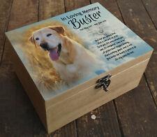 Golden Retriever dog wooden urn casket box, keepsake memorial gift, Personalised