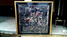 "VINTAGE OIL ON CANVAS HUGE 54.5x54.5"" ABSTRACT PAINTING SIGNED ""J.P."" FRAMED"