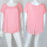 NWT Torrid Size 00 M Blouse Top Button Back Short Sleeve Pink White Polka Dot