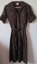 Womens XS Merona Brown Linen Blend Button Front Shirt Dress Short Sleeve Belted