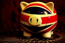 More details for cute vintage union jack flag ceramic piggy/coin bank money box