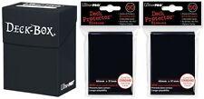 Ultra-Pro BLACK DECK BOX + 100 BLACK SLEEVES (for Magic/MTG/Pokemon Cards) NEW