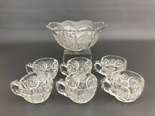 Antique Ripley Glass Co. pressed glass punch bowl & 6 cups IVERNA  #303 c.1911