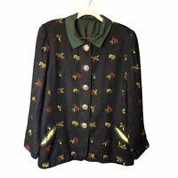 Vtg Vintage Women Strawberry Floral Embroidered Blazer Suit Coat Jacket Black 38