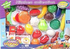 Vinsani Kids Kitchen Food Pretend Play Set Fruits Vegetables Burger -29 Pieces