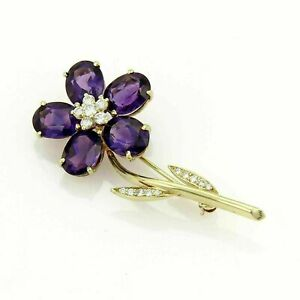 5.25 Ct Oval Cut Amethyst & Diamond Flower Pin Brooch 14K Yellow Gold Finish