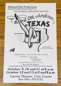 BEST LITTLE WHOREHOUSE IN TEXAS RARE ORIGINAL PROMO POSTER AD 11x17 Syracuse NY