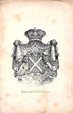 gravure ancienne blasons armoiries Marquis de Courtavel  héraldique héraldisme