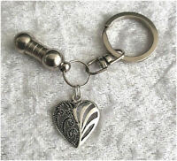Cremation Jewellery Ashes Urn Keyring w Fancy Heart Funeral Keepsake Memorial