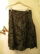 Style & Co.  -  100% Cotton A-line Skirt  -  Size 6  - Brown w/Floral Pattern