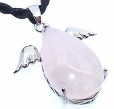 Rose Quartz Gemstone Guardian Angel Pendant with Black Thong