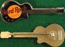 Hard Rock Cafe STOCKHOLM 1990s Les Paul DK BLUE Guitar STAFF PIN FCP SAND #9357