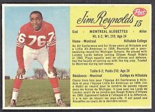 1963 POST CFL FOOTBALL #15 JIM REYNOLDS EX+ MONTREAL ALOUETTES HILLSDALE COLLEGE