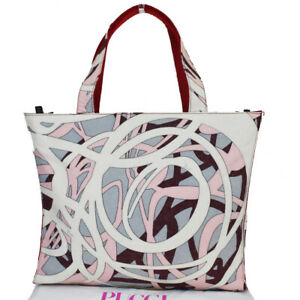 Authentic EMILIO PUCCI Logos Shoulder Bag Wool Leather White Red Italy 05MC635
