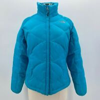 The North Face 550 Goose Down Blue Quilted Puffer Coat Womens Medium