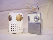 VINTAGE tiny General Electric GE P851E WHITE CHROME AM TRANSISTOR POCKET RADIO